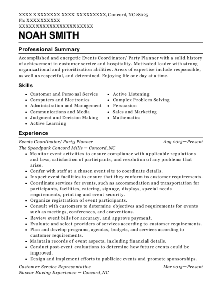 Events Coordinator resume example North Carolina
