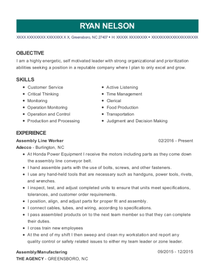Assembly Line Worker resume format North Carolina