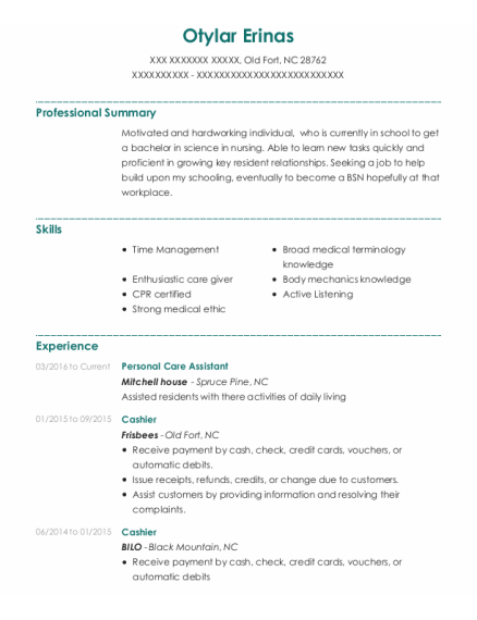 Personal Care Assistant resume template North Carolina
