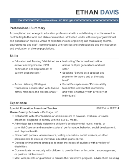 Special Education Preschool Teacher resume example North Carolina
