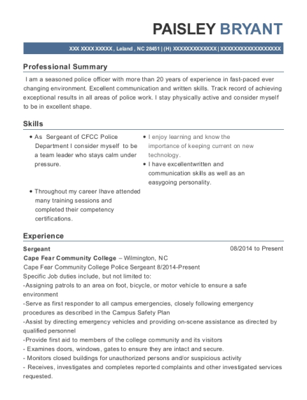 Sergeant resume example North Carolina