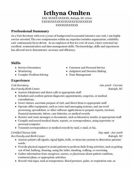 Unit Secretary resume template North Carolina