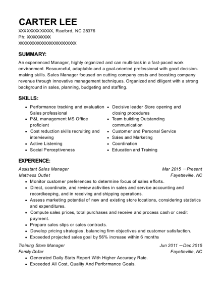 Assistant Sales Manager resume format North Carolina