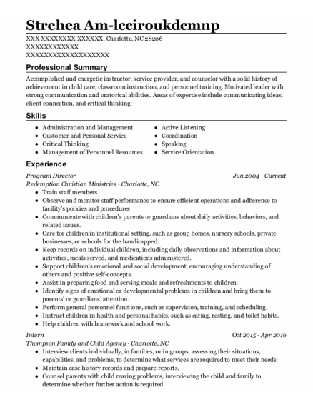 Program Director resume example North Carolina