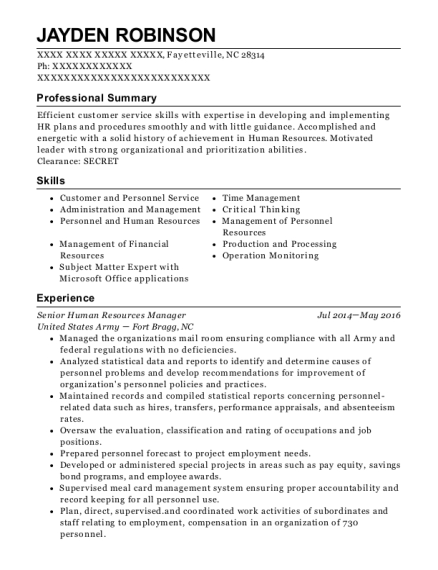 Senior Human Resources Manager resume example North Carolina