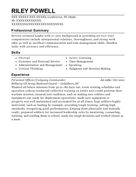 Personnel Officer resume template North Carolina