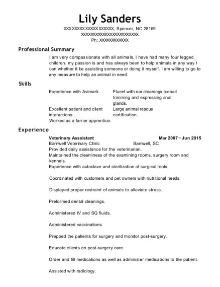 Veterinary Asssistant resume example North Carolina