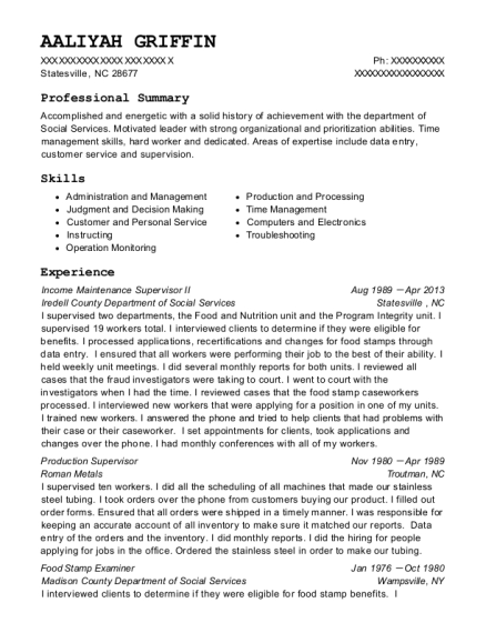 Income Maintenance Supervisor II resume example North Carolina