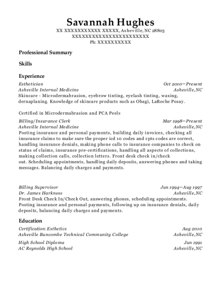 Esthetician resume sample North Carolina
