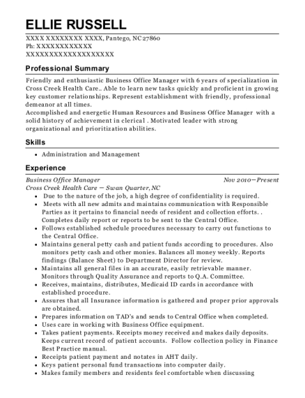 Business Office Manager resume example North Carolina