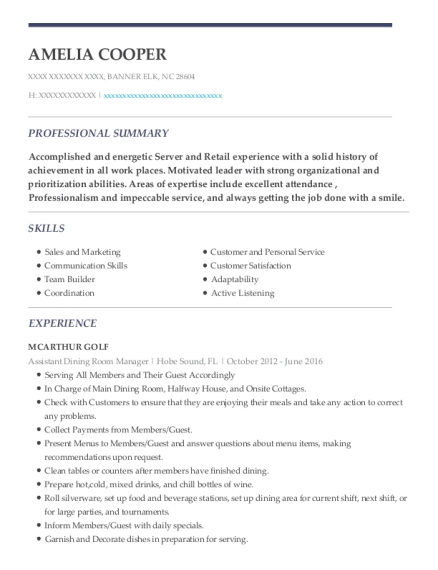 Assistant Dining Room Manager resume template North Carolina