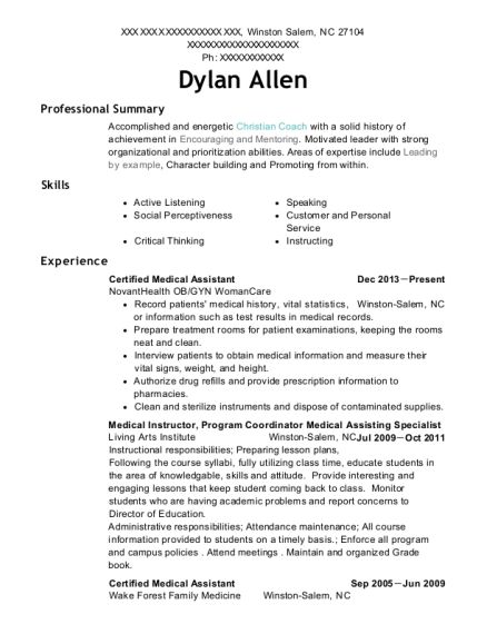 onsite healthcare certified medical assistant resume