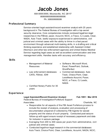 Legal Assistant resume example North Carolina