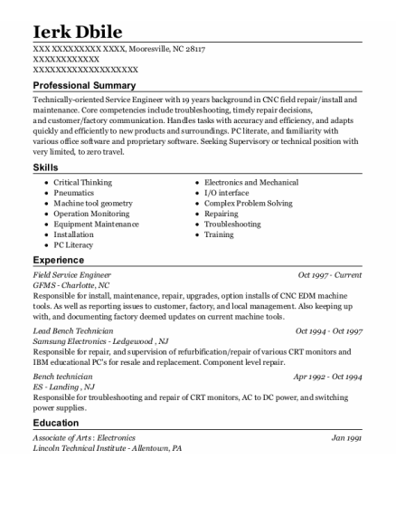 Field Service Engineer resume example North Carolina