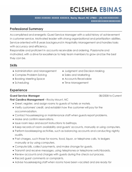 Guest Service Manager resume example North Carolina