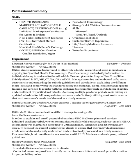 Licensed Representative for WellPoint resume example North Carolina