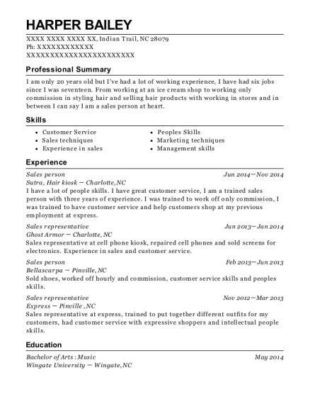 Sales person resume template North Carolina