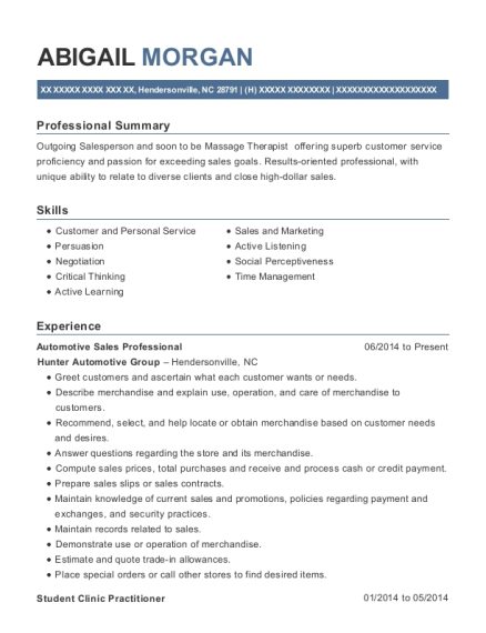 Automotive Sales Professional resume sample North Carolina
