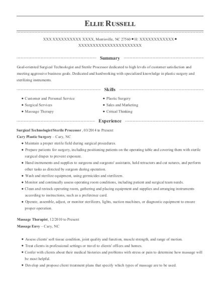 Surgical Technologist resume example North Carolina