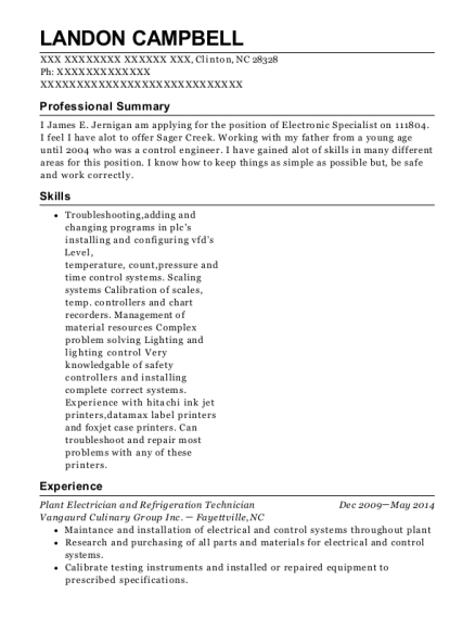 Plant Electrician and Refrigeration Technician resume example North Carolina
