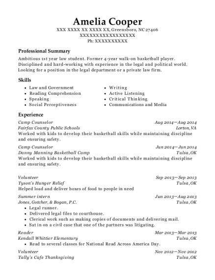 Camp Counselor resume example North Carolina