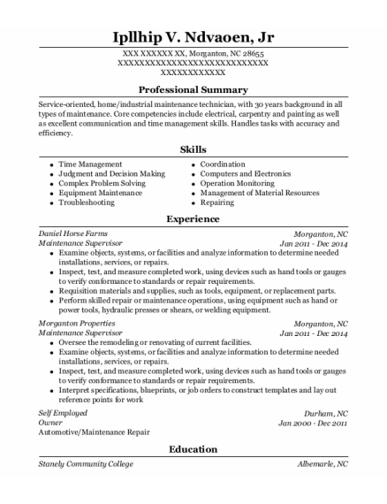 Maintenance Supervisor resume sample North Carolina