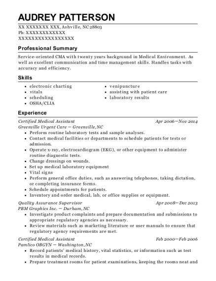 Certified Medical Assistant resume template North Carolina