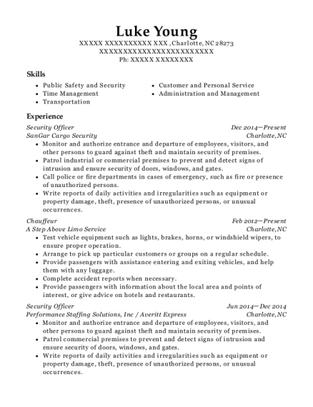 Security Officer resume example North Carolina