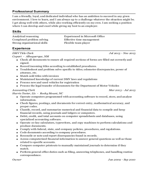 honda cars of rockwall title clerk resume sample