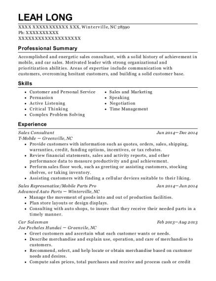 Sales Consultant resume sample North Carolina
