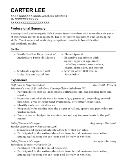 Golf Course Superintendent resume example North Carolina