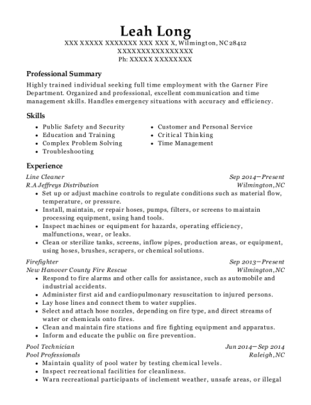 Line Cleaner resume sample North Carolina
