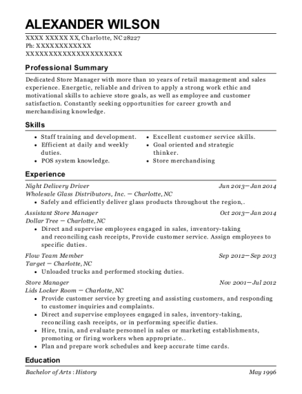 Night Delivery Driver resume template North Carolina