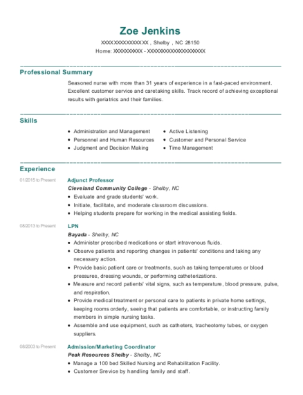 Adjunct Professor resume format North Carolina