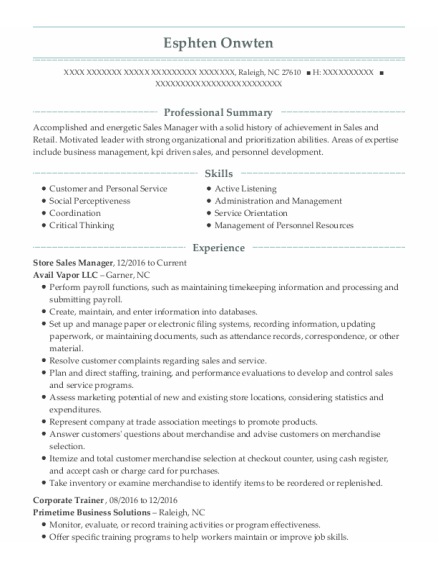 Store Sales Manager resume template North Carolina