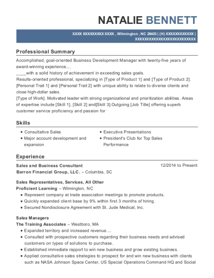 Sales and Business Consultant resume example North Carolina
