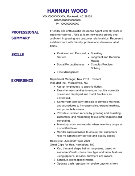 Department Manager resume example North Carolina