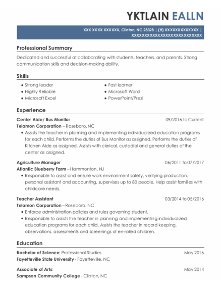 Bus Monitor resume template North Carolina