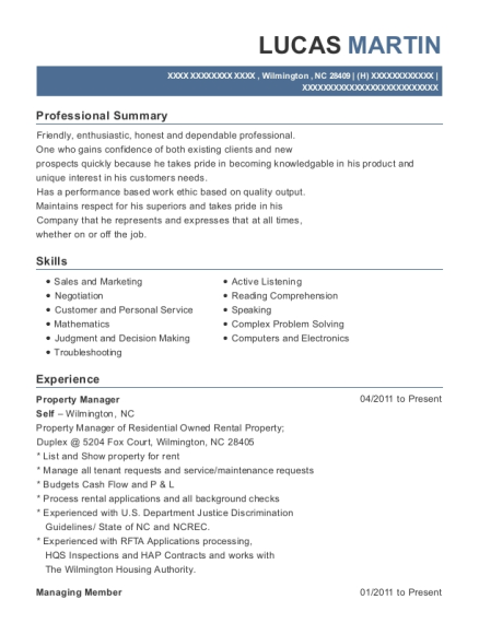 Property Manager resume sample North Carolina