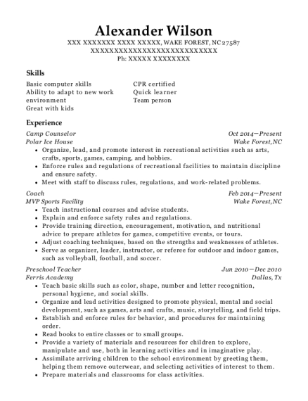 Camp Counselor resume template North Carolina