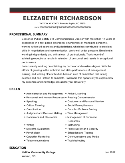 EMT Basic resume template North Carolina