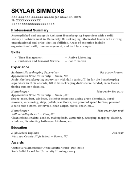 Assistant Housekeeping Supervisor resume sample North Carolina