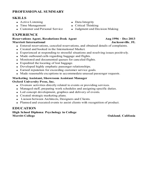 Reservations Agent resume example North Carolina