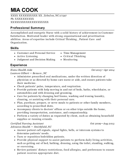 Home Health Aide resume example North Carolina