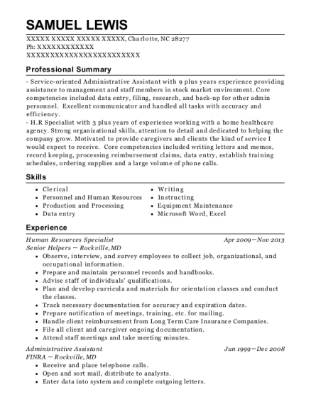 Human Resources Specialist resume sample North Carolina