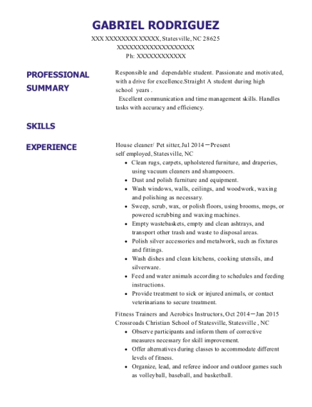 House cleaner resume sample North Carolina