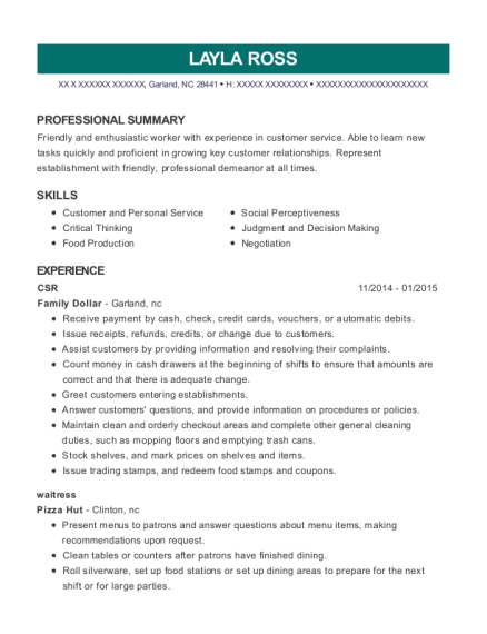 CSR resume example North Carolina