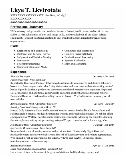 Finance Manager resume example North Carolina