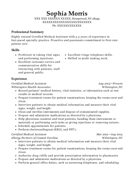 onsite healthcare certified medical assistant resume sample