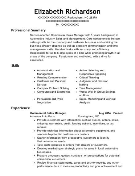 Commercial Sales Manager resume example North Carolina